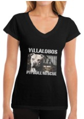 T-Shirt for Women, Villalobos Rescue Center Pit Bull Rescue Short Tee V Neck Cotton Summer T-Shirt for Work Sports