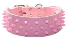 Hayoueer 2 inch wide leather dog collars in pink