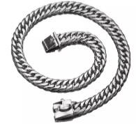 Pet Collar - Dog Silver black Chain
