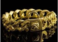 Skull Gold Silver Dog Chain Collar Stainless Steel 32mm Pitbull Bulldog Collar1