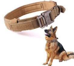 SunteeLong Tactical Dog Collar Adjustable Military Nylon Dog Collar Heavy Duty Metal Buckle with Handle for Dog Training Brown M