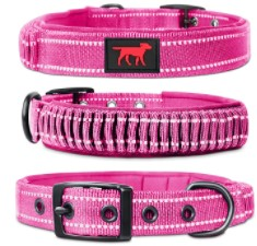 Tuff Pupper Heavy Dog Collar with Handle Ballistic Nylon Heavy Duty Collar Padded Reflective Dog Collar with Adjustable Stainless Steel Hardware Convenient Sizing for All Breeds